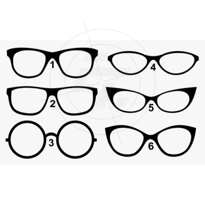Aufkleber Brillenformen, Brillengestelle, Damen und Herren