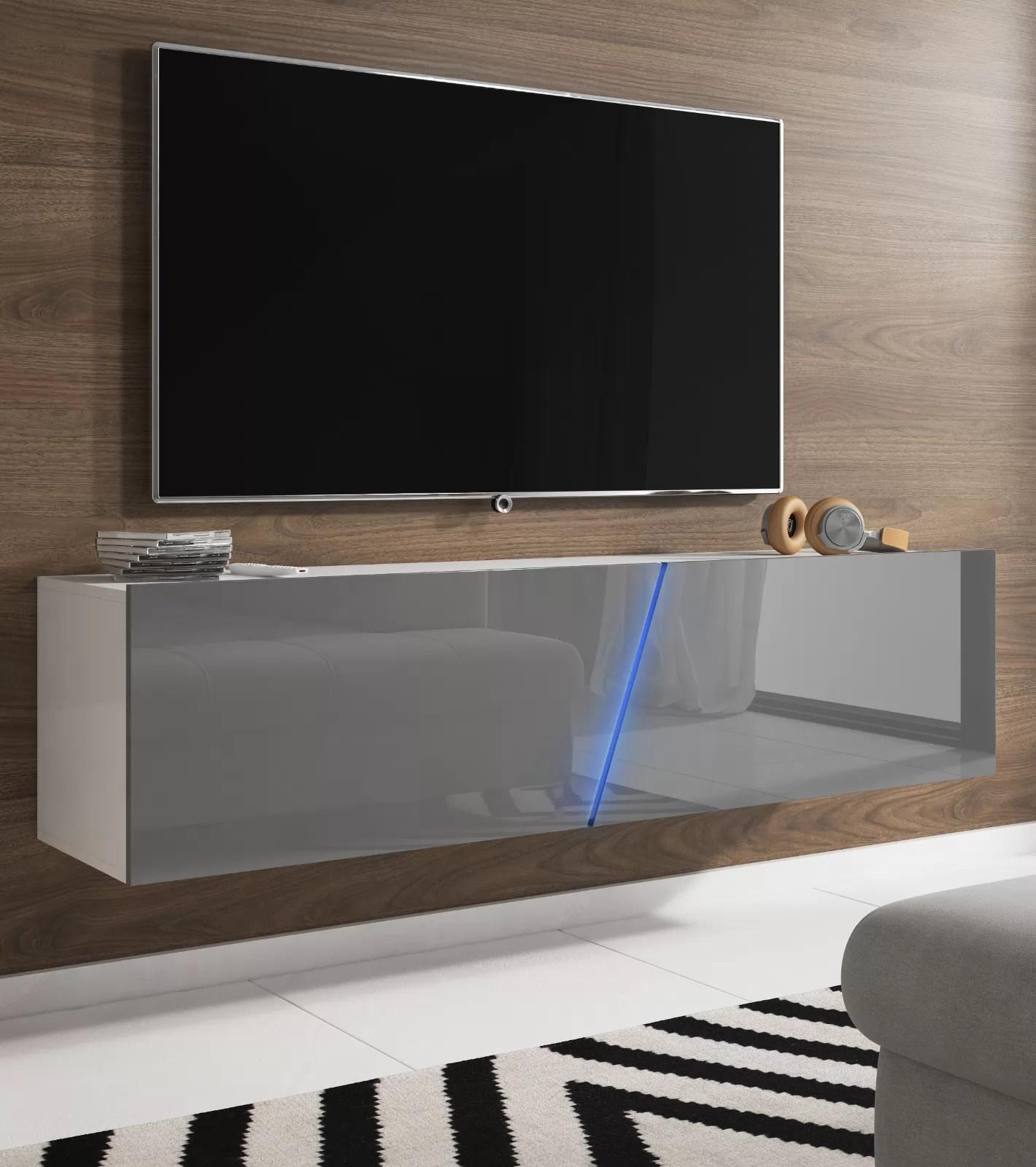 tv lowboard space in grau hochglanz lack tv unterteil hangend stehend 160 cm mit led