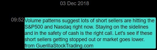 Text alert sent by Lance Jepsen before the market plunged on Tuesday, December 4, 2018.