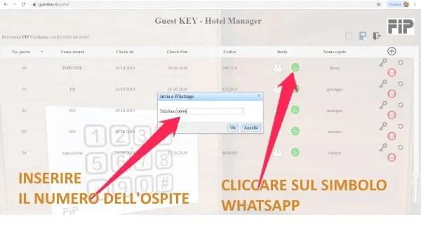 invio per whatsapp codice apertura camera