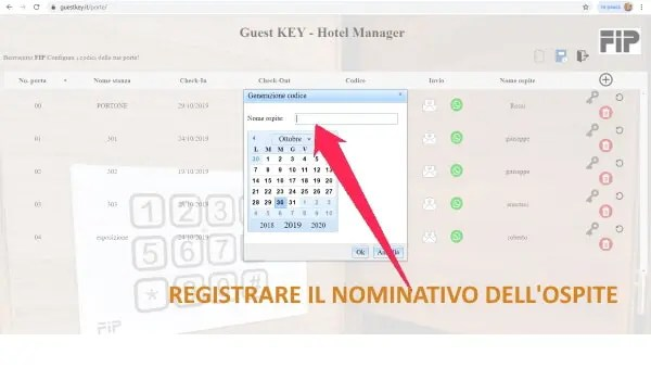tastiera elettronica registrare il nominativo dell'ospite