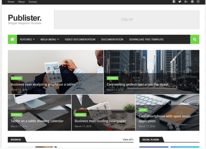 Publister Blogger Theme