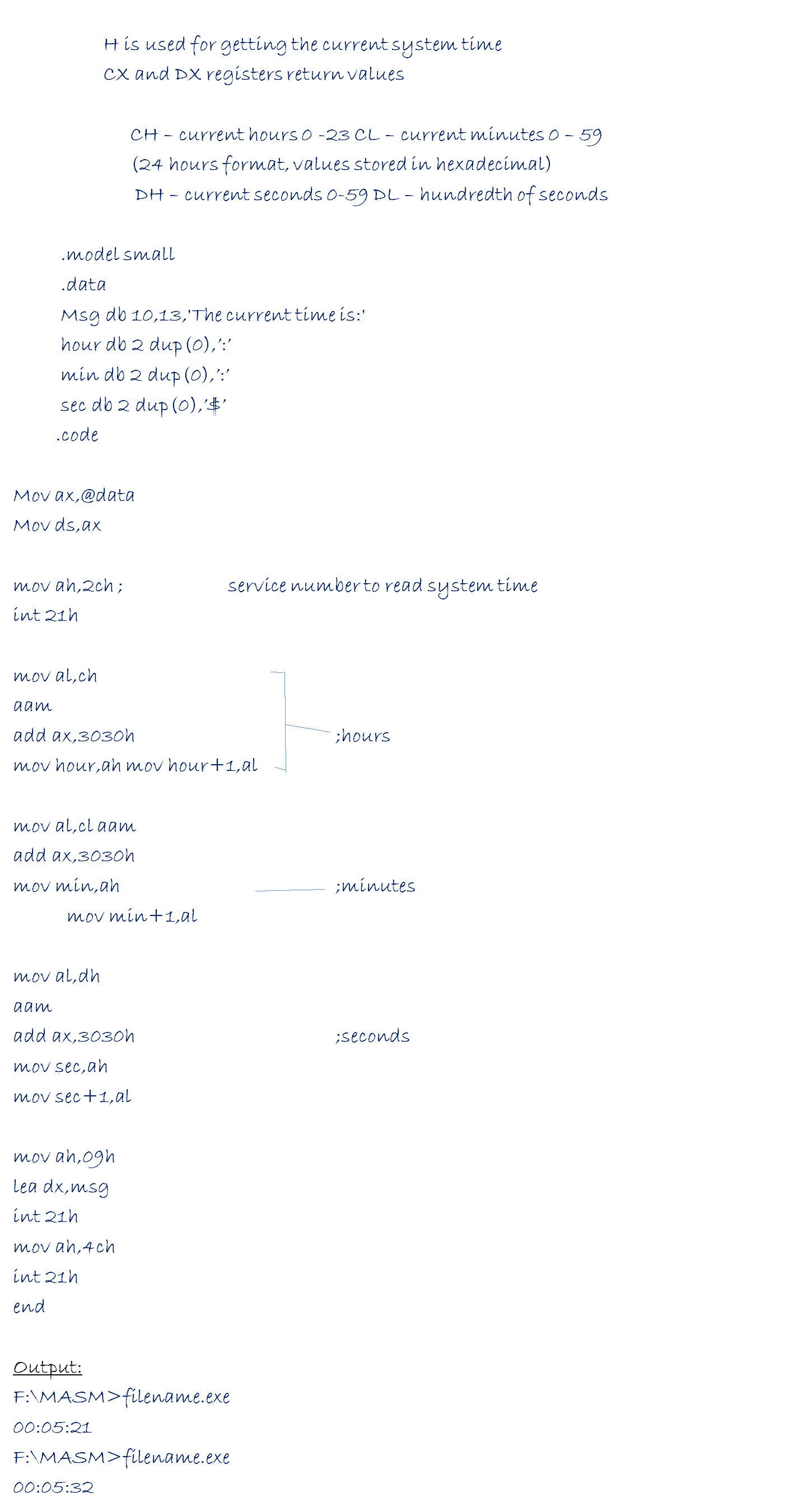 Write a program in assembly language to read the current