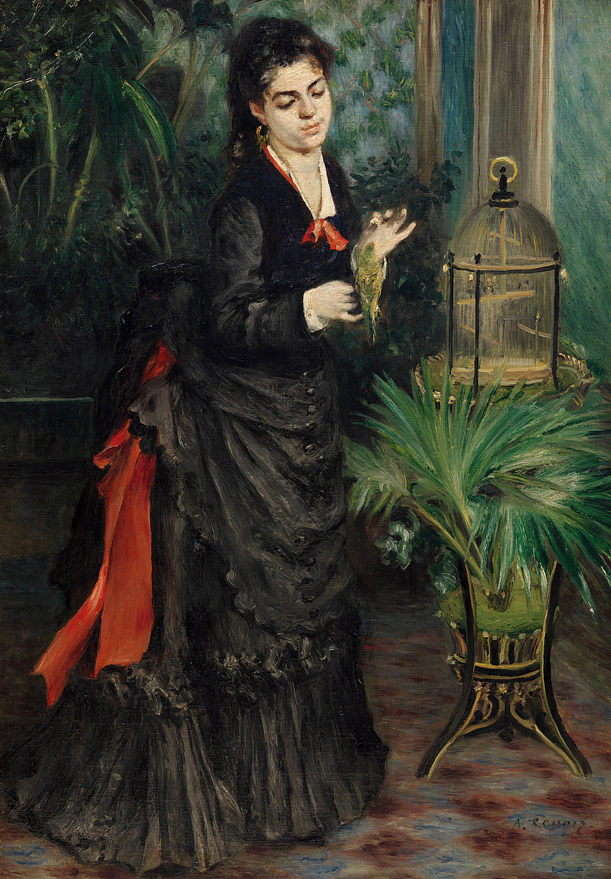 Pierre-Auguste Renoir, Woman with Parakeet, 1871. Oil on canvas, 36 1/4 x 25 5/8 inches (92.1 x 65.1 cm)