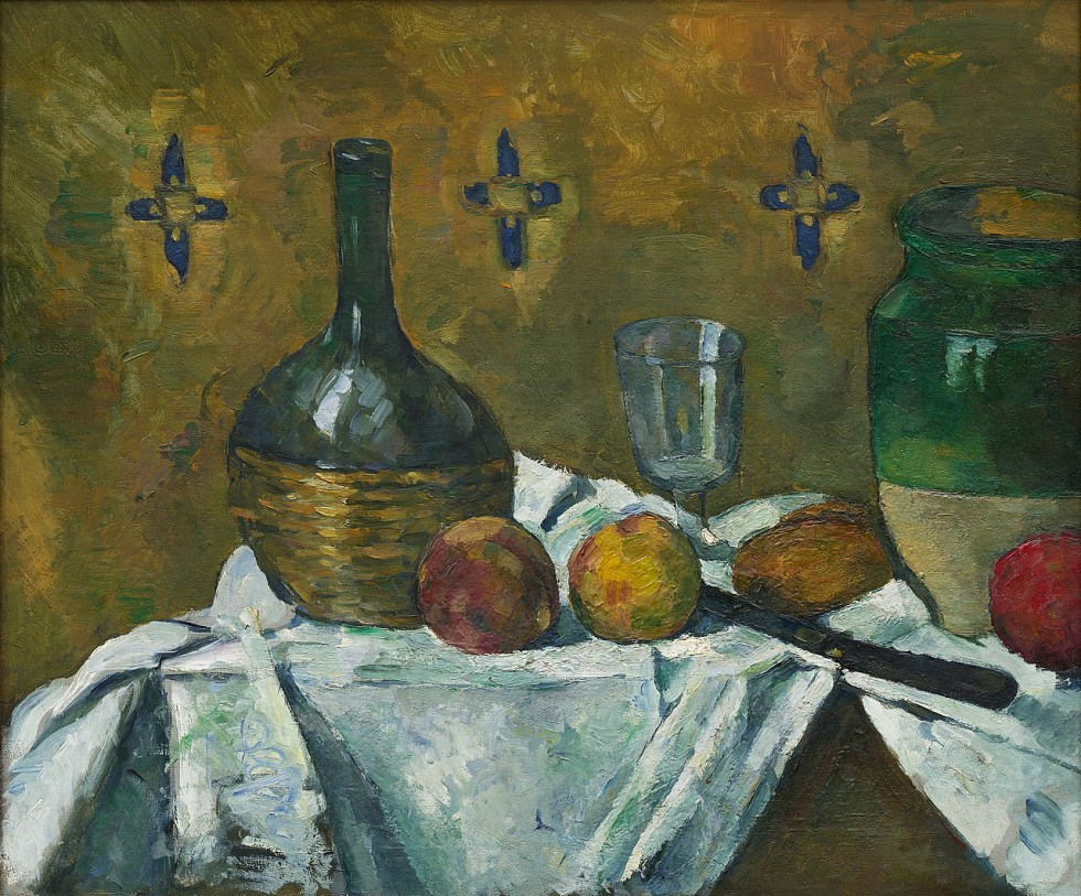 Paul Cézanne, Still Life: Flask, Glass and Jug, ca. 1877. Oil on canvas, 18 x 21 3/4 inches (45.7 x 55.3 cm)