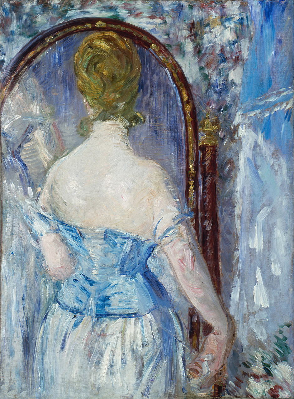 Édouard Manet, Before the Mirror, 1876. Oil on canvas, 36 1/4 x 28 1/8 inches (92.1 x 71.4 cm)