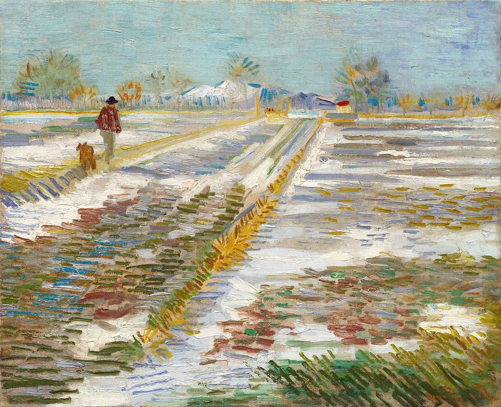 Vincent van Gogh, Landscape with Snow, February/March 1888. Oil on canvas, 15 1/16 x 18 3/16 inches (38.2 x 46.2 cm)