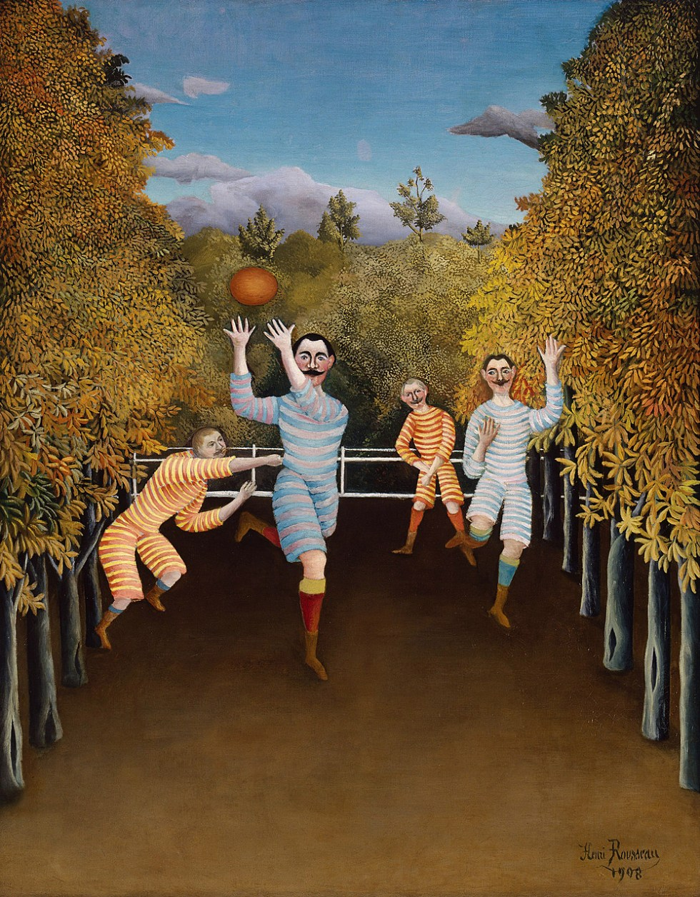 Henri Rousseau, The Football Players, 1908. Oil on canvas, 39 1/2 x 31 5/8 inches (100.3 x 80.3 cm)