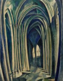 Robert Delaunay, Saint-Séverin No. 3, 1909–10. Oil on canvas, 45 x 34 7/8 inches (114.1 x 88.6 cm)