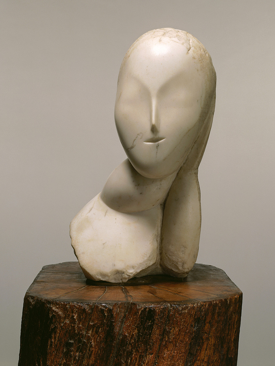 Constantin Brancusi, Muse, 1912. Marble, 18 1/4 x 9 x 8 3/4 inches (46.4 x 22.9 x 22.2 cm); cycladic figurines