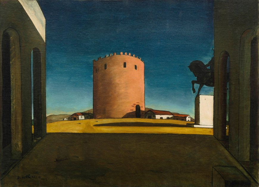 Giorgio de Chirico, The Red Tower, 1913. Oil on canvas, 28 15/16 x 39 5/8 inches (73.5 x 100.5 cm)