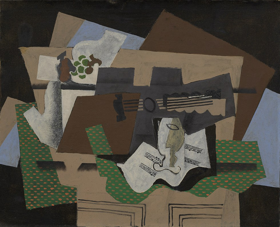 Georges Braque, Guitar, Glass, and Fruit Dish on Sideboard, early 1919. Oil, tempera (est.), sand, and charcoal with graphite on canvas, 31 7/8 x 39 1/2 inches (81 x 100.3 cm)