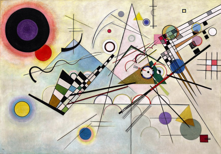 Vasily Kandinsky, Composition 8, July 1923. Oil on canvas, 55 1/8 x 79 1/8 inches (140 x 201 cm)