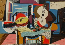 Pablo Picasso, Mandolin and Guitar, Juan-les-Pins, 1924. Oil with sand on canvas, 55 3/8 x 78 7/8 inches (140.7 x 200.3 cm)