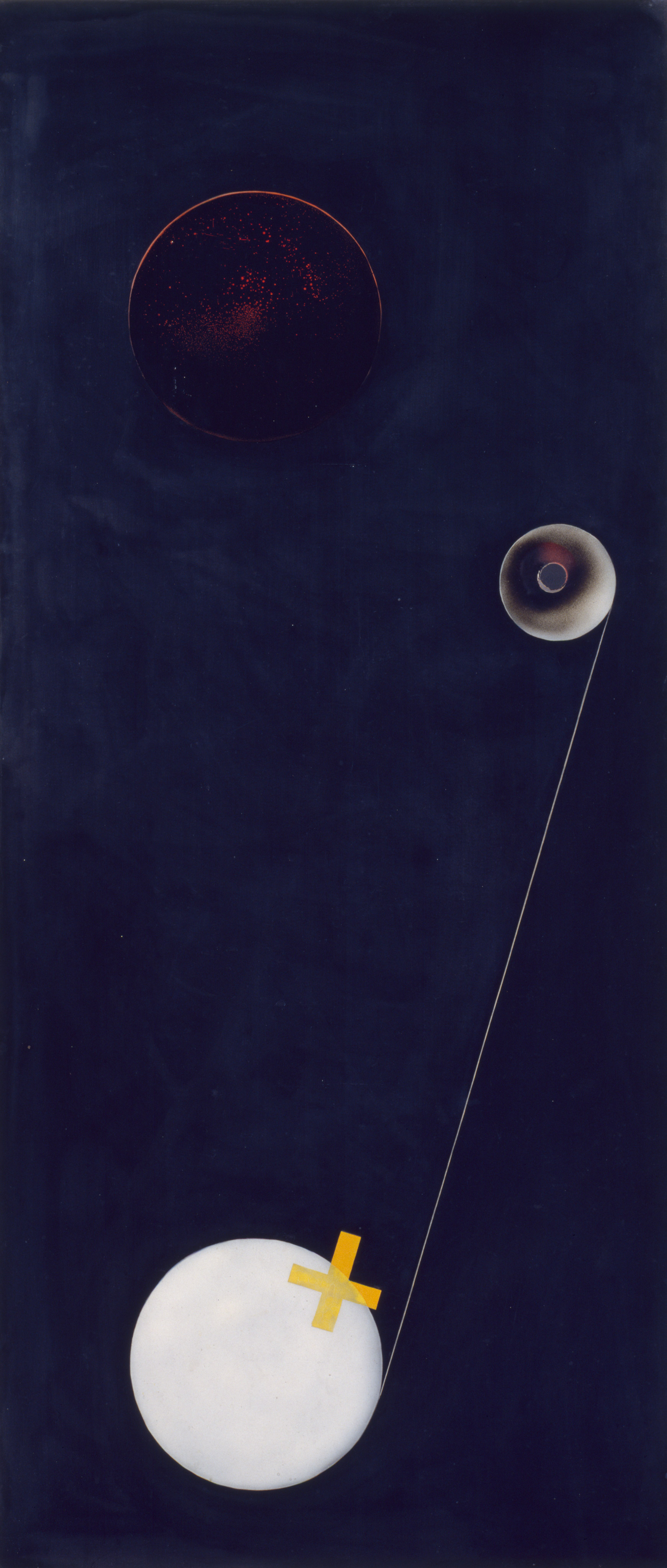 László Moholy-Nagy, T1, 1926. Oil, sprayed paint, incised lines, and paper on Trolit, 55 1/16 x 24 5/16 inches (139.8 x 61.8 cm)