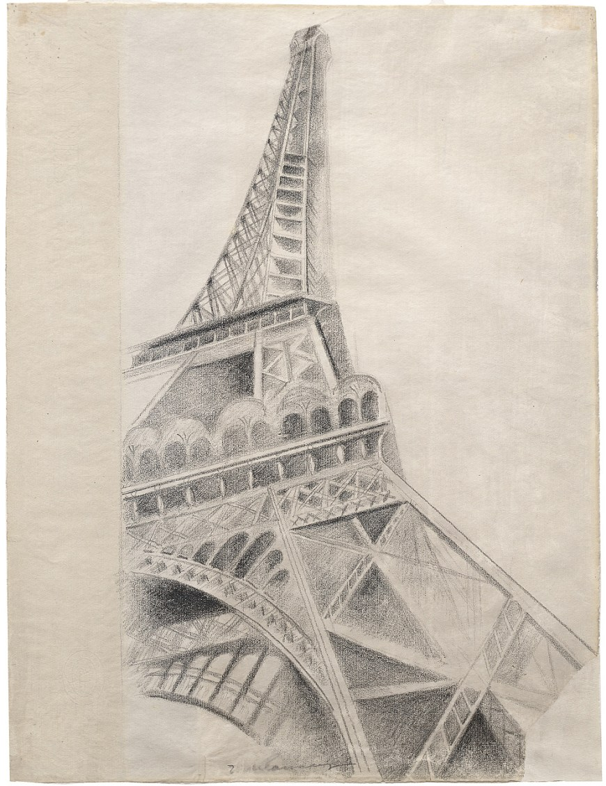 Robert Delaunay, Eiffel Tower, 1926–28. Conté crayon on paper, 24 1/2 x 18 3/4 inches (62.3 x 47.5 cm)