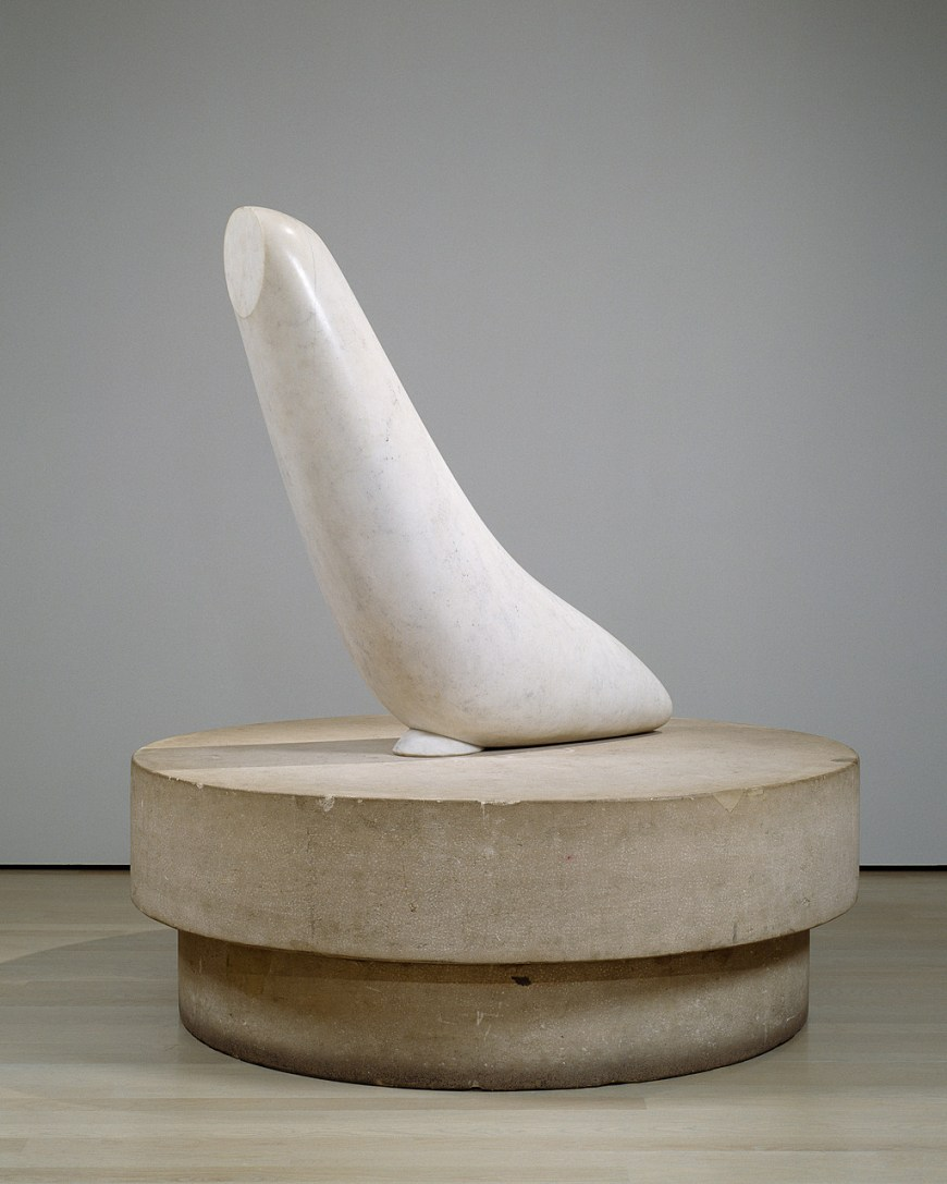 Constantin Brancusi, The Miracle (Seal [I]), ca. 1930–32. Marble on limestone base, Height: 64 1/4 inches (163.2 cm); diameter: 58 3/4 inches (149.2 cm)