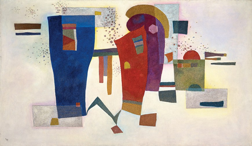 Vasily Kandinsky, Accompanied Contrast, March 1935. Oil with sand on canvas, 38 1/4 x 63 7/8 inches (97.1 x 162.1 cm)
