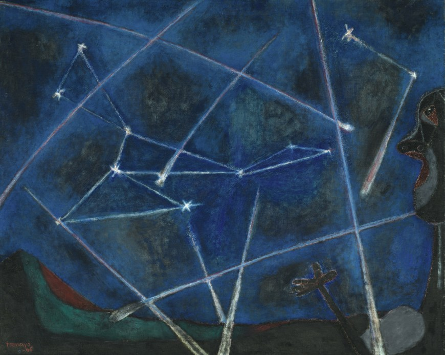 Rufino Tamayo, Heavenly Bodies, 1946. Oil with sand on canvas, 34 x 41 3/8 inches (86.3 x 105 cm)