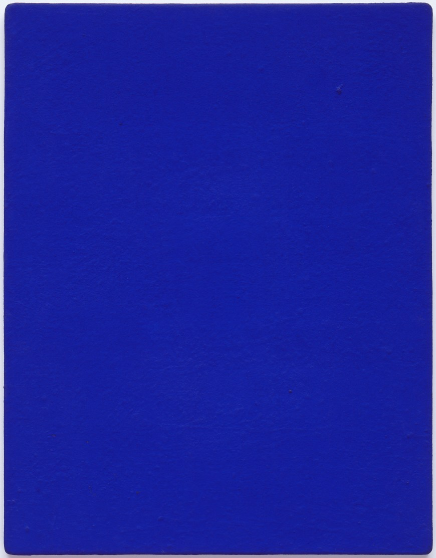 Yves Klein, Untitled blue monochrome (IKB 82), 1959. Dry pigment in synthetic resin on canvas, mounted on board, 36 1/4 x 28 1/4 inches (92.1 x 71.8 cm)