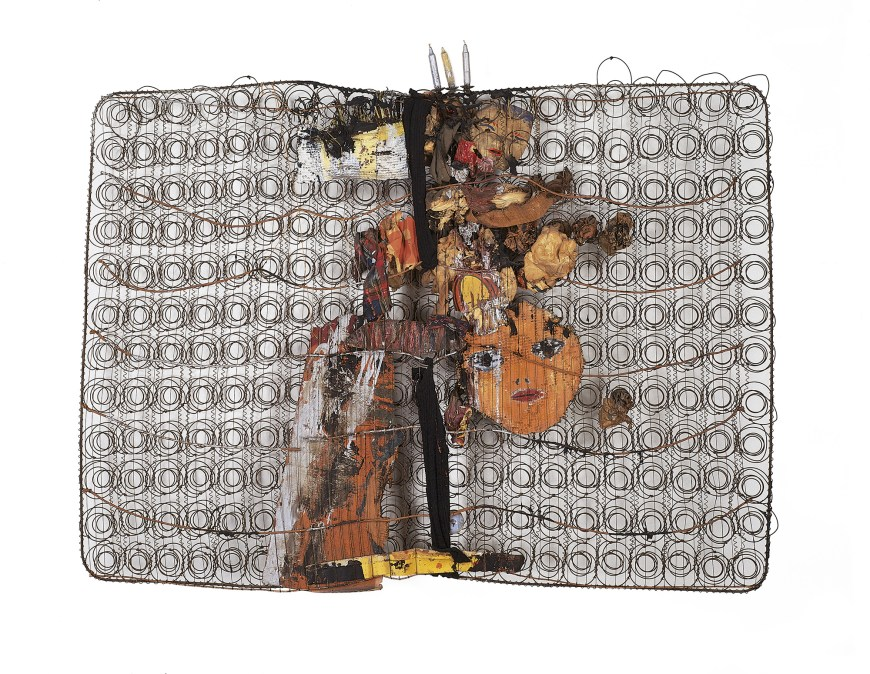 Jim Dine, Bedspring, 1960. Assemblage of oil, metallic paint, candles, metal candle holders, paper, corrugated cardboard, canvas, newsprint, waxed paper, tissue paper, tape, rags, burlap, corduroy, wool, plaid cloth, bowtie, carpet, aluminum foil, and light bulb on steel-wire bed spring, 57 1/2 x 74 3/4 x 11 inches (146.1 x 189.9 x 27.9 cm)