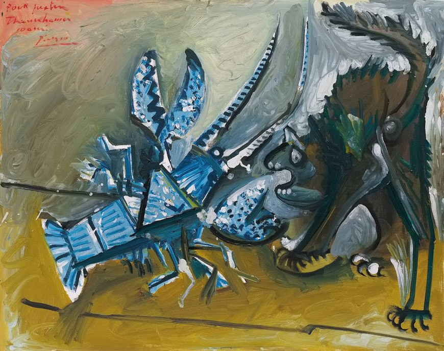 Pablo Picasso, Lobster and Cat, January 11, 1965. Oil on canvas, 28 3/4 x 36 1/4 inches (73 x 92 cm)