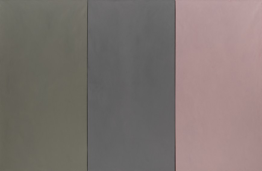Brice Marden, D'après la Marquise de la Solana, 1969. Oil and wax on canvas, three panels, 77 5/8 x 117 3/8 inches (197.2 x 298.1cm) overall