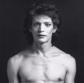 Robert Mapplethorpe, Self Portrait, 1980. Gelatin silver print, image: 13 7/8 inches x 14 inches (35.2 x 35.6 cm); sheet: 19 13/16 inches x 16 inches (50.3 x 40.6 cm)