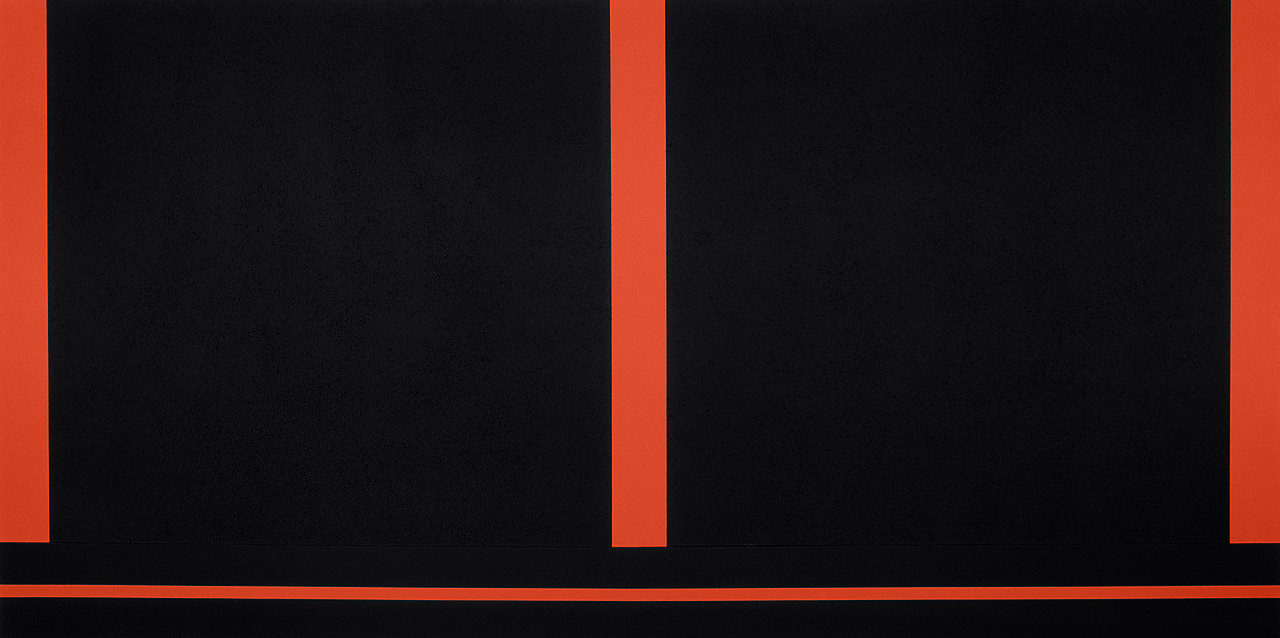 Peter Halley, Two Cells with Conduit, 1987. Day-Glo, acrylic, and Roll-a-Tex on canvas, two panels, 6 feet 6 inches x 12 feet 10 3/4 inches (198.1 x 393.1 cm) overall