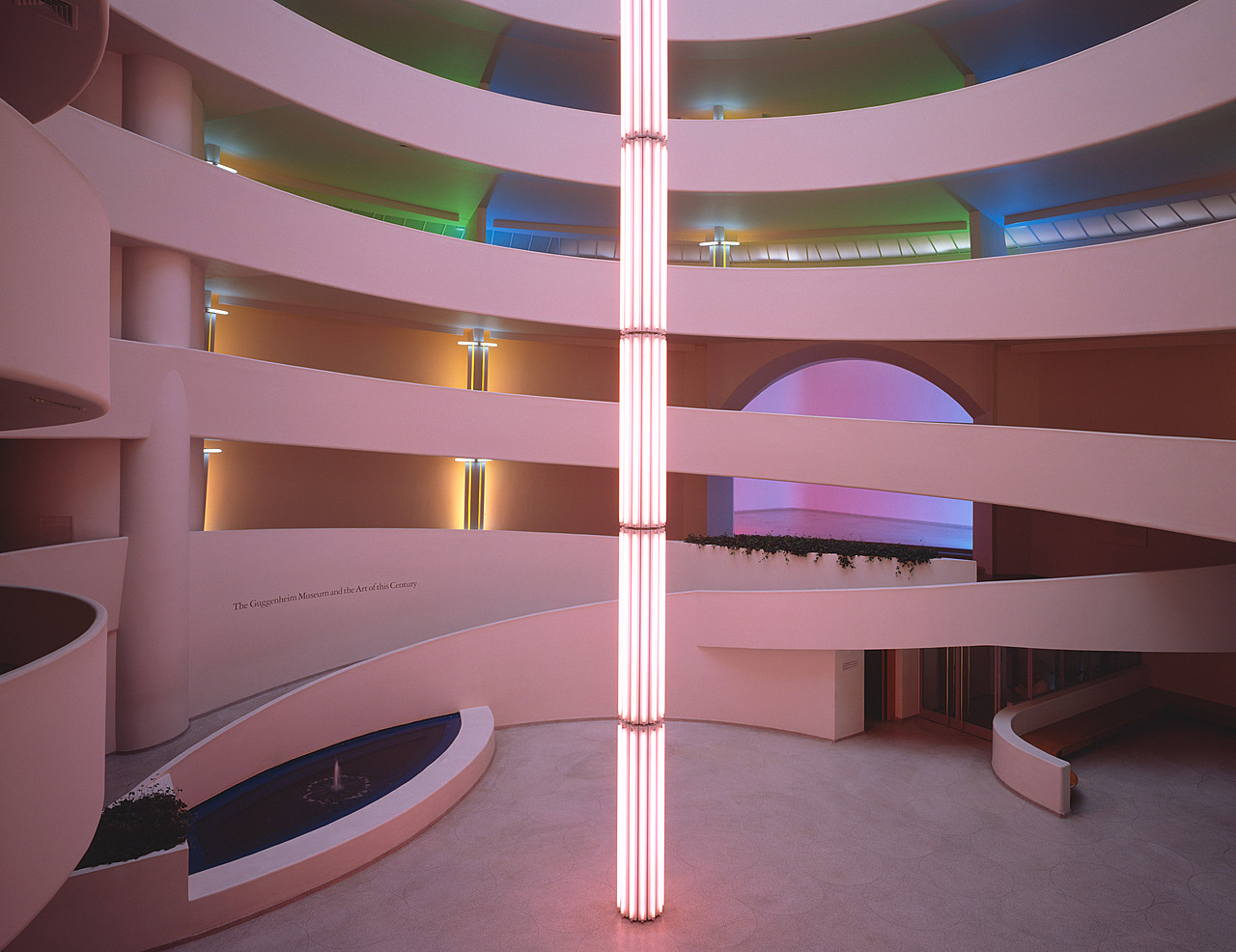 Dan Flavin, untitled (to Tracy, to celebrate the love of a lifetime), 1992. Pink, green, blue, yellow, daylight, red, and ultraviolet fluorescent light, dimensions variable