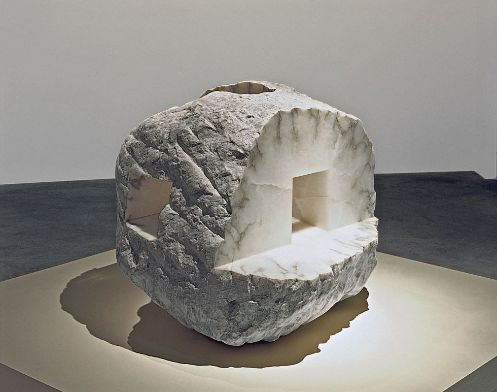Eduardo Chillida, How profound is the Air, 1996. Alabaster, 37 x 48 1/16 x 48 13/16 inches (94 x 122 x 124 cm)