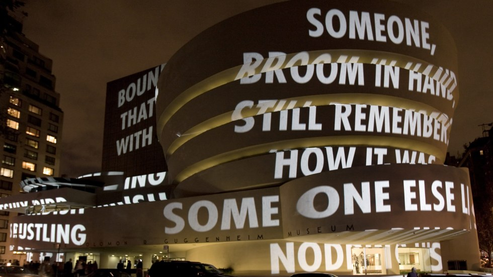 Words projected on the outside of the Solomon R. Guggenheim Museum