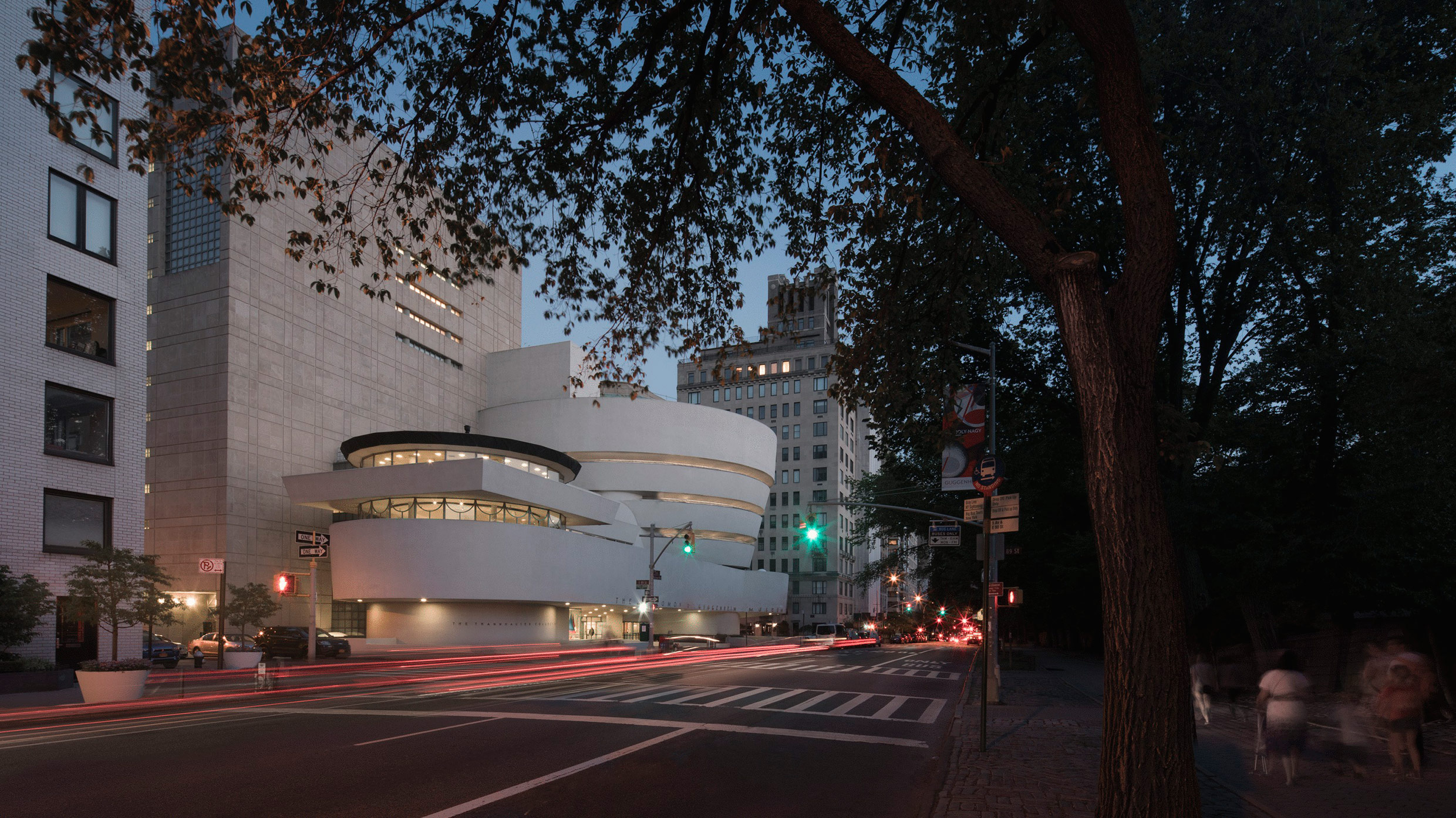 Exhibition Overview About The Architect Exhibition Topics Vocabulary  Resources A View Of The Solomon R. Guggenheim Museum In New York City At  Late Dusk