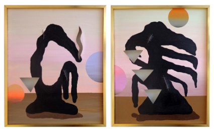 Fernanda Laguna, Abstract, 2014. Acrylic on canvas, Two panels, 28 3/8 x 48 7/16 inches (72 x 123 cm) overall