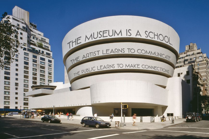 Luis Camnitzer, A Museum Is a School, 2011– . Site-specific installation, media variable, overall dimensions variable. Proposal rendering, digital photomontage. Solomon R. Guggenheim Museum, New York, Gift of the artist in honor of Simón Rodriguez on the occasion of the Guggenheim UBS MAP Global Art Initiative 2014.59. Photo: Courtesy the artist and Alexander Gray Associates