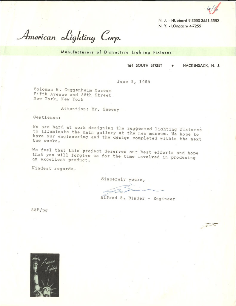 The lighting of a great museum 1959 letter to james johnson sweeney from american lighting corp june 5 1959 arubaitofo Gallery