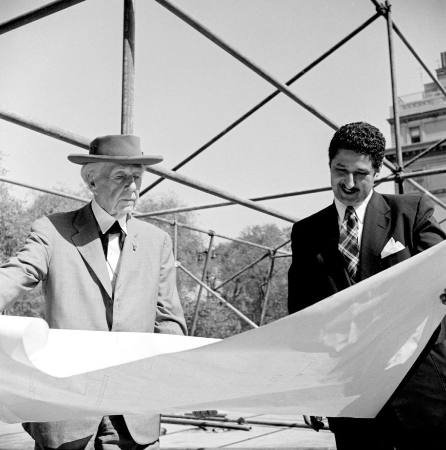 Frank Lloyd Wright and David Henken reviewing architectural drawings for the pavilion, 1953.
