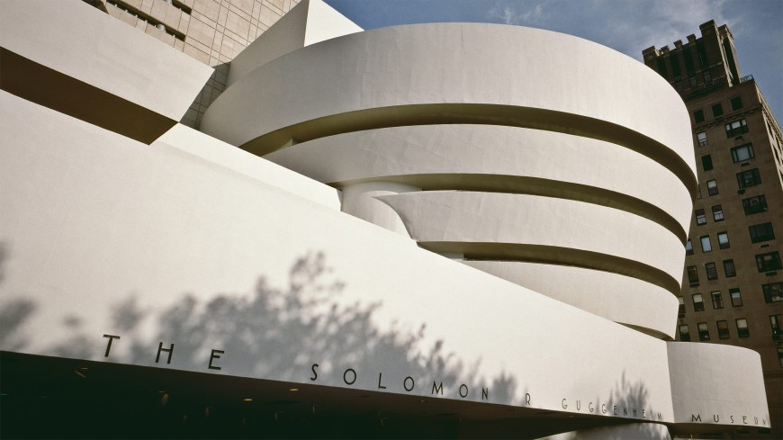 Exterior view of the Solomon R. Guggenheim Museum in New York.