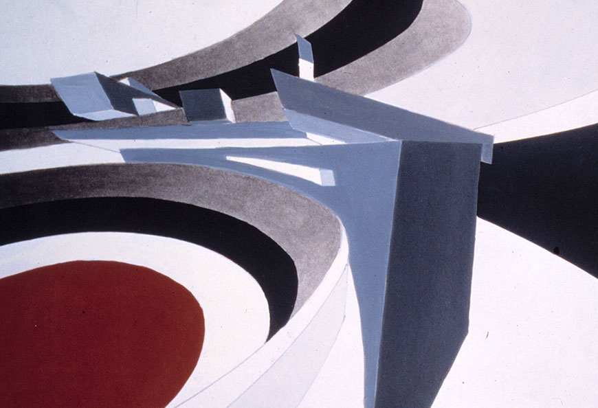 Zaha Hadid, perspective painting of <em>Bent Tektonik</em>. Acrylic and pencil on cream cardstock. 298 x 298 mm. Image: Courtesy Zaha Hadid Architects
