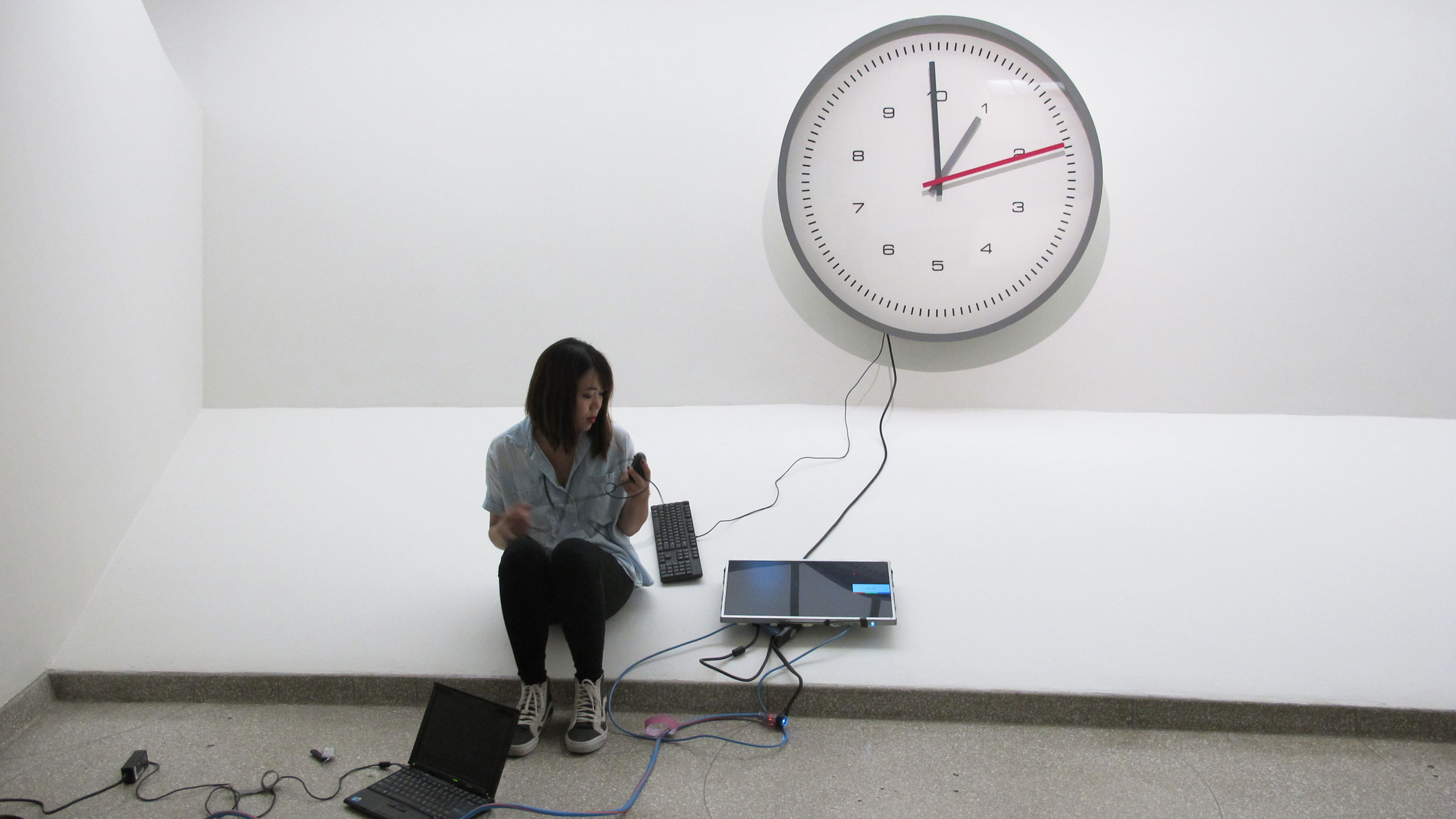 NYU computer science student Jiwon Shin during her summer internship with the Guggenheim Conservation Department. Supervised by Joanna Phillips and mentored by Professor Deena Engel, Jiwon worked on creating an exhibition copy for artist Julieta Aranda's computer-based kinetic object Two shakes, a tick and a jiffy (2007). Photo: Joanna Phillips
