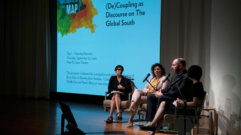 Curators Nancy Spector, Sara Raza, and Pablo León de la Barra. Photo: Chad Heird
