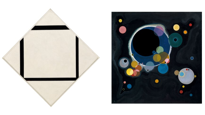 Left: Piet Mondrian, Composition No. 1: Lozenge with Four Lines, 1930. Oil on canvas, 29 5/8 x 29 5/8 inches (75.2 x 75.2 cm); vertical axis: 41 3/8 inches (105 cm), Solomon R. Guggenheim Museum, New York. The Hilla Rebay Collection. © 2016 Mondrian/Holtzman Trust. Right: Vasily Kandinsky, Several Circles, January–February 1926. Oil on canvas, 55 1/4 x 55 3/8 inches (140.3 x 140.7 cm), Solomon R. Guggenheim Museum, New York. Solomon R. Guggenheim Founding Collection, By gift. © 2016 Artists Rights Society (ARS), New York/ADAGP, Paris