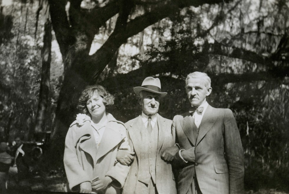 Hilla Rebay, Solomon Guggenheim, and Rudolf Bauer at the Guggenheim family farm and hunting plantation, Cainhoy, South Carolina, ca. 1939; near the Gibbes Memorial Art Gallery.