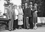 Left to right: Solomon Guggenheim, Antonie Rebay von Ehrenwiesen (Hilla's mother), Irene Rothschild Guggenheim, unidentified man, Rudolf Bauer, Franz Josef von Ehrenwiesen (Hilla's father), and Hilla Rebay, Germany, August 1930