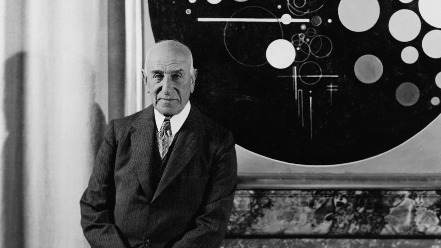 Solomon R. Guggenheim at the Plaza Hotel, New York, ca. 1937, with Rudolf Bauer's Andante (from Tetraptychon: Symphony in Four Movements, 1926–30).