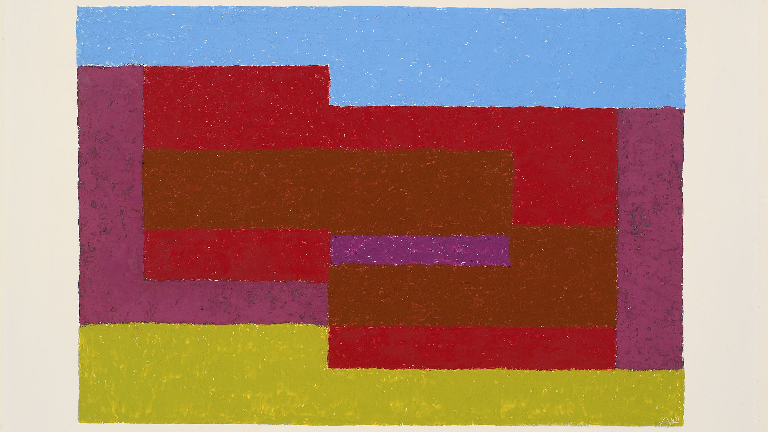 Detail: Josef Albers, To Mitla, 1940. Oil on Masonite, 53.3 × 71.1 cm. The Josef and Anni Albers Foundation © 2017 The Josef and Anni Albers Foundation/Artists Rights Society (ARS), New York. Photo: Courtesy The Josef and Anni Albers Foundation