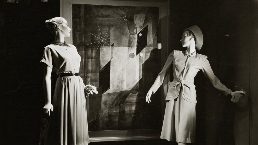 these 1947 department store displays paired abstract art and fashion