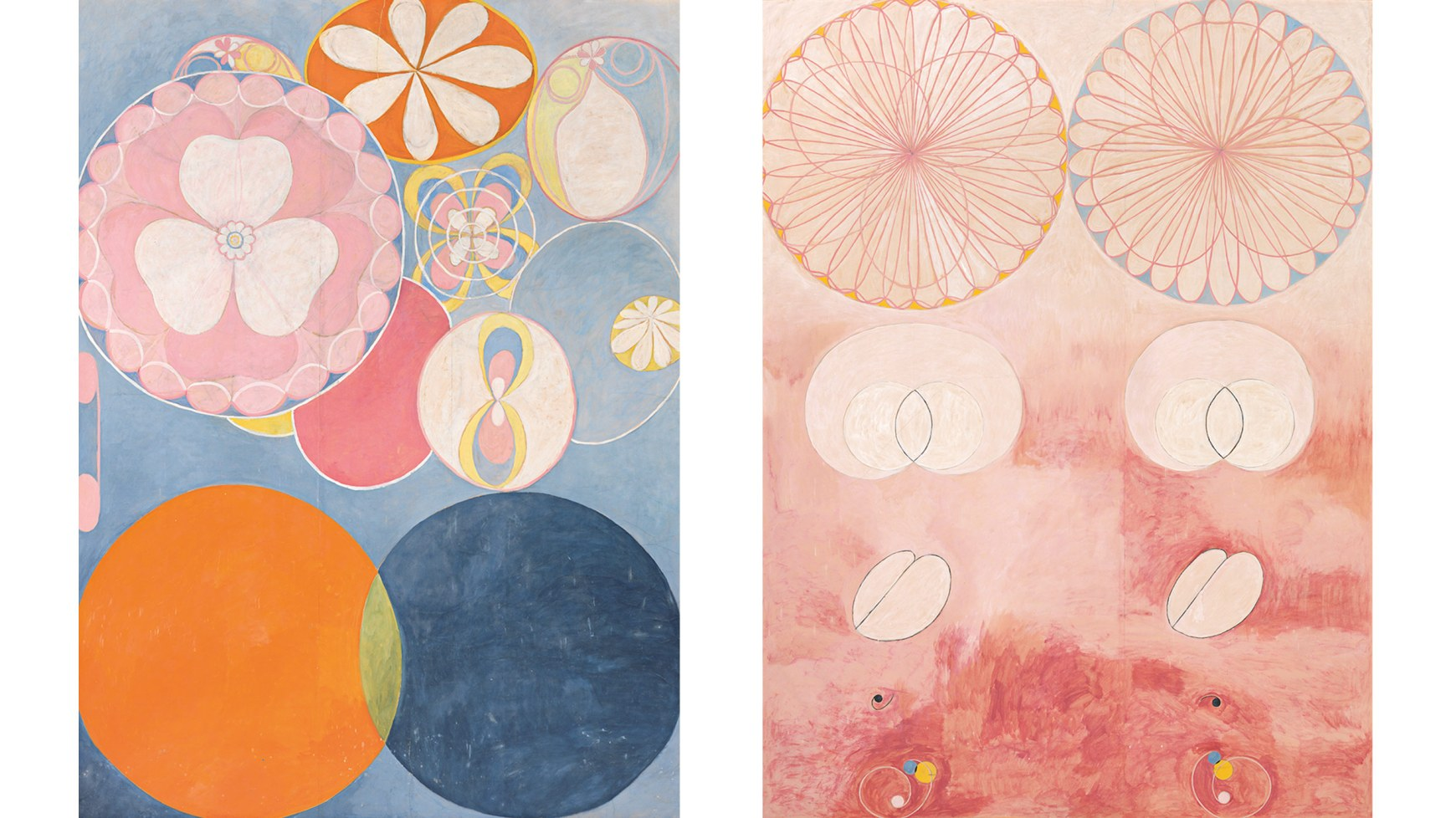 Two paintings. The first: Various circles and florals in pastels, including a pink flower/clover in a blue circle, a white daisy-type flower in an orange circle ringed with yellow and another in a yellow circle, and an orange circle and a blue circle interesecting with the small overlap in yellow. The second: Doubles of various figures on a pink/peach background: a flower/clover pattern ringed by yellow on one side, blue on the other; two intersecting circles surrounded by a larger lima-bean shape; a halved pod, a small black dot with a tail, and a swirl with yellow, blue and white circles.