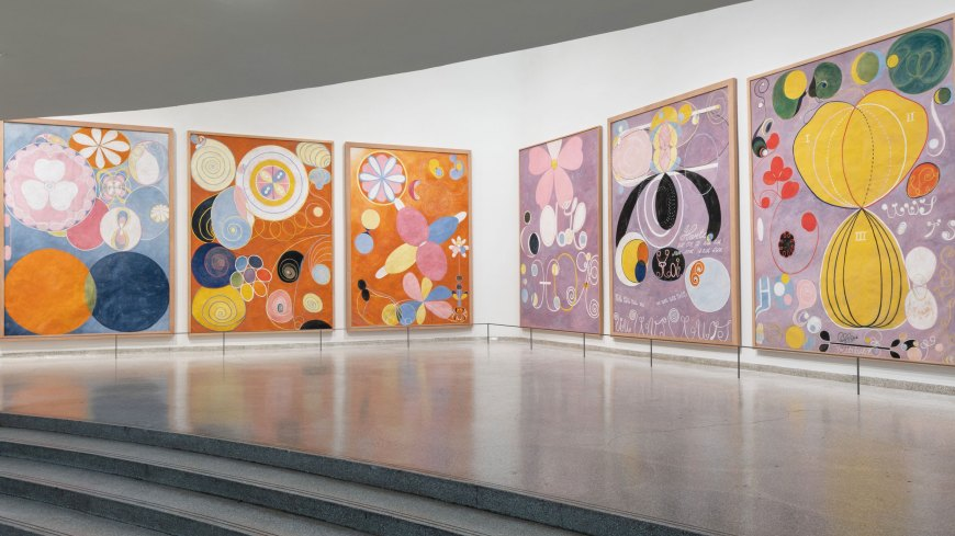 Large, colorful abstract paintings by Hilma af Klint in the Guggeheim