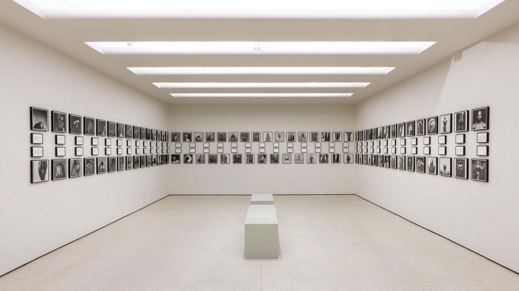 Photographs by Robert Mapplethorpe on the wall inside the Guggenheim Museum